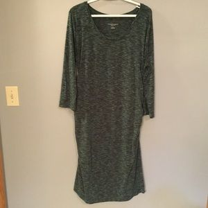 Green and black maternity dress